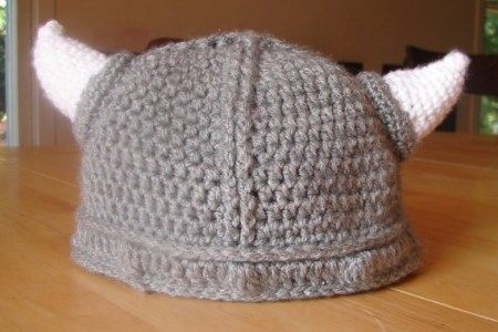Crochet viking hat with flowers in adult size-medium