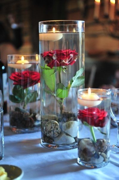 Submerged Rose Floating Candle Centerpiece Beauty And The Best Tablescape Red Wedding Cheap Wedding Centerpieces Rustic Chic Wedding Wedding Centerpieces