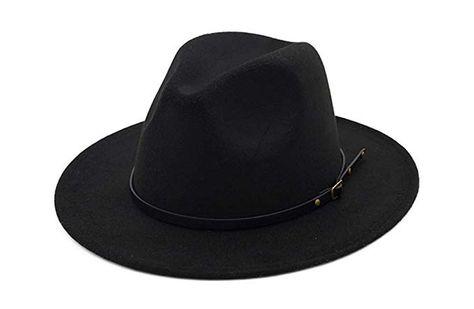 WmcyWell Vintage Women s Wide Brim Floppy Panama Hat Belt Buckle Fedora Hat  Black 1163d3ca71