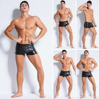 Men/'s Summer Wetlook Swim Shorts Faux Leather Boxer Briefs Sport Swimwear Bottom