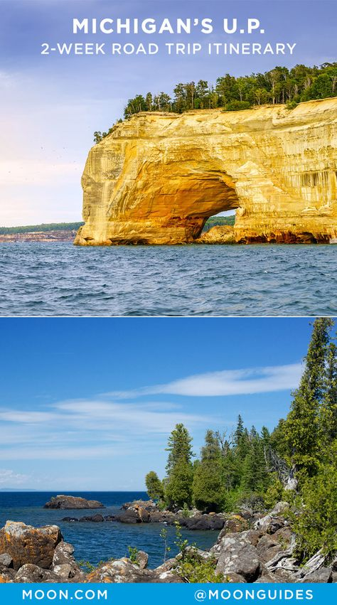 Road trip the best of Michigan's Upper Peninsula. The route outlined here will offer the most efficient way of limiting your driving time to segments of just a few hours while allowing you to… Michigan Vacations, Michigan Travel, Lake Michigan, Wisconsin, Marquette Michigan, Family Vacations, Family Travel, Mackinac Island, Pictured Rocks National Lakeshore