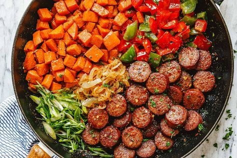 Smoked Sausage Recipe with Sweet Potato and Fried Onion – Sausage and Sweet Potato Stir-Fry Recipe — Eatwell101