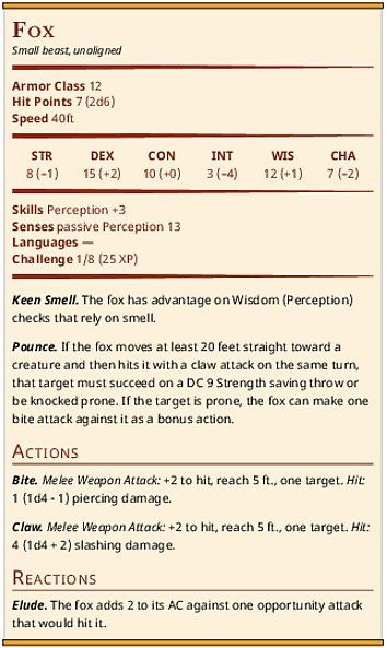 Fox and Giant Fox Stat Blocks (D&D 5e) ————— Typo: Pounce for giant