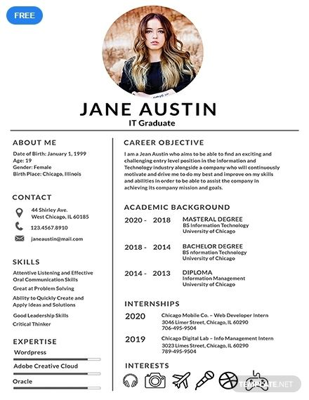 A Basic Resume Template For Fresher Applicants Who Are Applying For A Job Download This For Fre Resume Design Free Cv Template Free Minimalist Resume Template