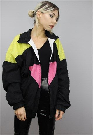 Vintage 80s 90s Oversized Colourful Shell Windbreaker Jacket Jackets Windbreaker Jacket Windbreaker