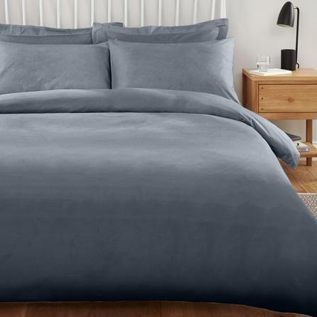 Dunelm Polycotton Plain Dye Denim Blue Non Iron Duvet Cover