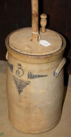 Crock Dasher Churn At auction Atlee Raber Auction, Dundee OH Antique Crocks, Old Crocks, Antique Stoneware, Stoneware Crocks, Or Antique, Primitive Christmas, Primitive Snowmen, Primitive Crafts, Country Christmas