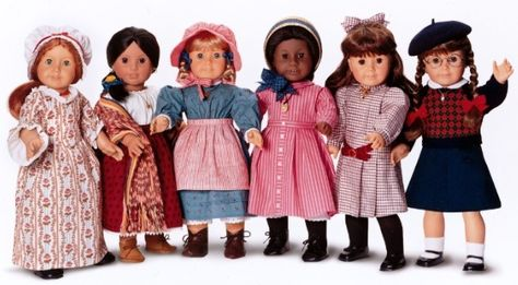 """American Girl Dolls from earliest years. Production began 1986. The three original dolls were Samantha, Kirsten, and Molly. These three had white bodies. Felicity was in 1991 and the first to have a flesh colored body. Beautiful dolls! The first dolls were made by Goetz in Germany and will have a """"Made in West Germany"""" tag."""
