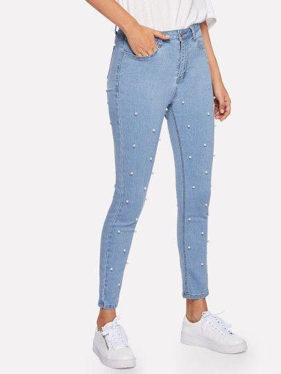Compra Pearl Beaded Crop Skinny Jeans En Linea Shein Ofrece Pearl Beaded Crop Skinny Jeans Y Mas Para Moletons Femininos Roupas Tumblr Moda Adolescente