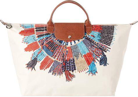 meilleur site web 4b55b acfbb Longchamp Le Pliage Collier Massai Collection Large Canvas ...