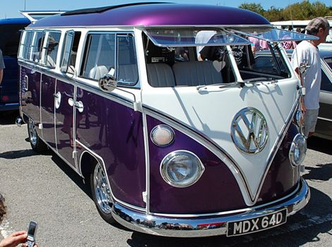 Purple VW Bus/Camper ~ want one! L@@K how long this bus is; this is totally awesome!!