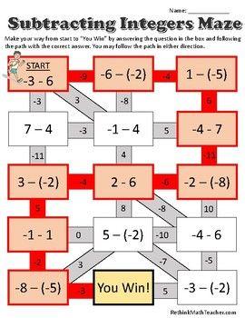 Maze Worksheets Adding Subtracting Mult By Rethink Math Teacher Teachers Pay Teachers Maze Worksheet Integers Math Integers