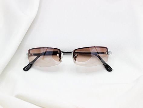 3cf593e1457 Small Square Rimless Vintage Sunglasses