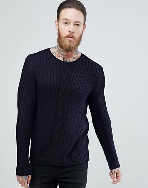 67c39f82059 ASOS Cable Knit Jumper In Navy | Knits | Sweaters, Cable knit ...