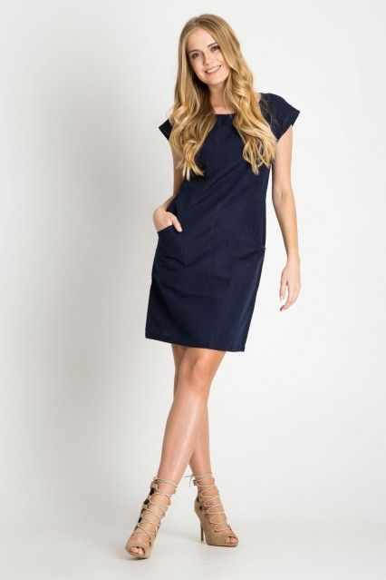 Granatowa Prosta Lniana Sukienka Quiosque Fashion Dresses For Work Dresses