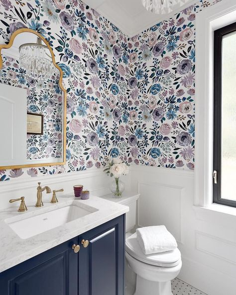 This is totally in our fresh, fall floral powder bath by Beyond Beige Interior Design 📷: Bathroom Sets, Small Bathrooms, Modern Bathroom, Girl Bathrooms, Colorful Bathroom, Boho Bathroom, Luxury Bathrooms, Bathroom Inspo, Master Bathroom