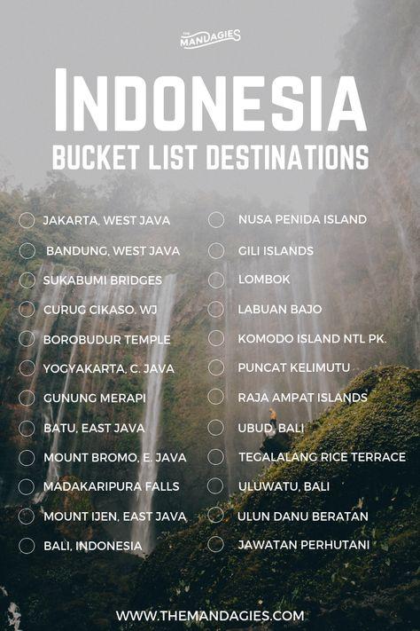 Indonesia Bucket List. Save this pin for travel inspiration later, and click the link for more Southeast Asia travel tips! #Indonesia #asia #travel #jakarta #bucketlist #surabaya #eastjava #borobudur #yogyakarta #batu #malang #bromo #ijen #bali #komodoisland #labuanbajo #sumatra