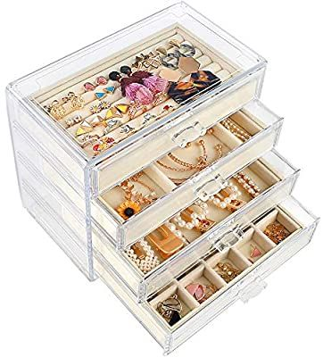 Amazon Com Mebbay Acrylic Jewelry Box With 4 Drawers Velvet Jewelry Organizer For Earring Neckla In 2020 Acrylic Jewellery Jewelry Organization Jewelry Organizer Box