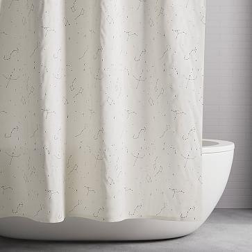 Organic Constellation Shower Curtain Black Westelm In 2020 Modern Shower Curtains Shower Curtain Modern Shower Curtain Rings