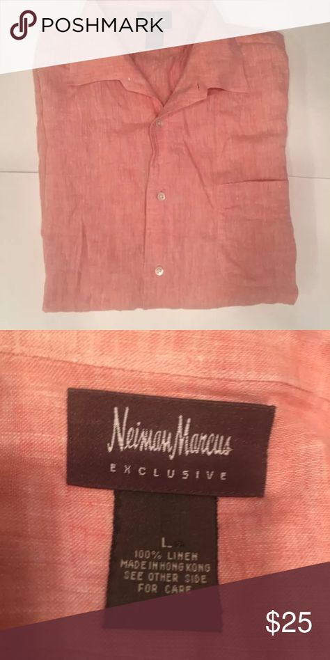 Men's Neiman Marcus linen short sleeve large Great condition Neiman Marcus Shirts Casual Button Down Shirts