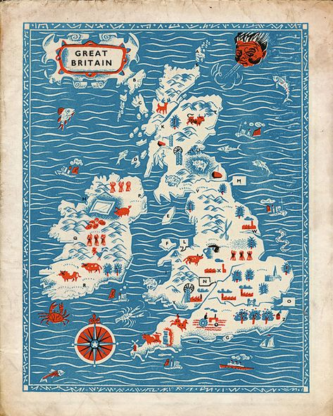 Vintage England Map Great Britain Antique by missquitecontrary, $30.00