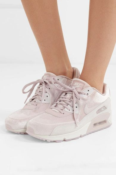 Blush Air Max 90 Lx Velvet And Suede Sneakers Nike Velvet Sneakers Nike Air Max 90 Sneakers