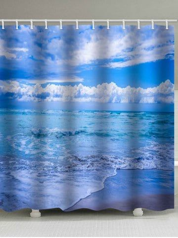 Sea Printed Waterproof Shower Curtain With Images Printed