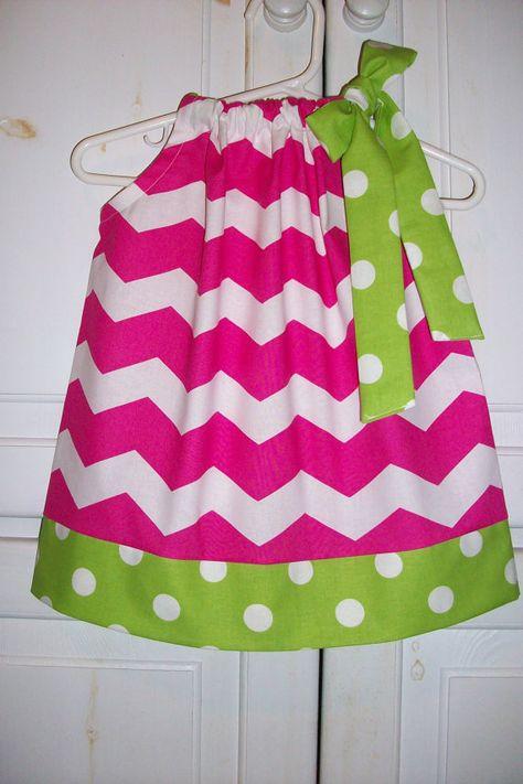 Pillowcase Dress CHEVRON and DOTS Hot Pink Lime