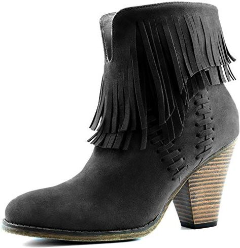 Chic DailyShoes Women's Double Fringe High Top Ankle Booties High Heel Western Cowboy Boot Womens Shoes Boots. [$52.99] topusshop from top store