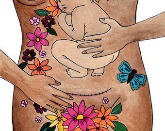 """TRANSFORMER / 8.5 """"x 11"""" original art print / césarienne naissance / csection / new mama / art de guérison"""