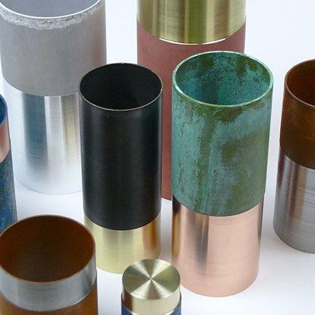 20 cm Vase - Kupfer/Grün von Lex Pott Materialmix