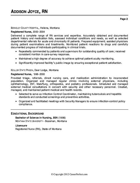 nurse resume example