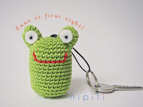 Keychain pendant crochet FROG  Friendship gift  New Home by nipiti, $10.00