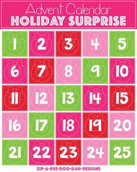 Enjoy Counting Down The 25 Days Until Christmas With This Virtual Holiday Surprise Advent Clipart Calendar A Brand New Clip Art Teachers Teacher Pay Teachers
