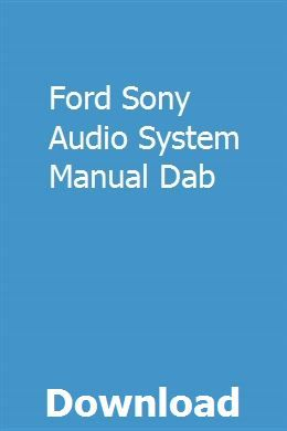Ford sony radio cd player cassette audio system manual handbook.