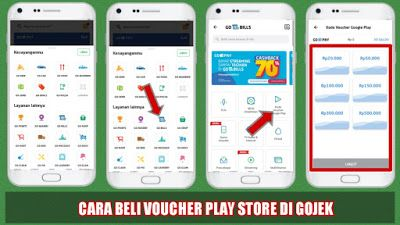 Cara Membeli Voucher Google Playstore Di Gojek Google Google Play Aplikasi