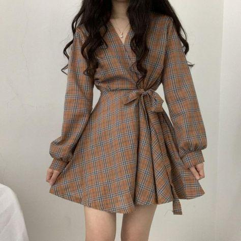 Long Sleeve Dress Women Vintage Palid V-neck Mini Dress Korean High Waist Lace-up Short Dress Preppy Style - light brown / M