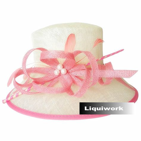 1f1a869c87e47 Buy Ladies Ivory Pink Linen Church Dress Derby Sun Hats for Women SKU-158480