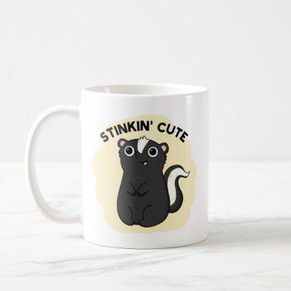 Stinkin Cute Adorable Skunk Pun Coffee Mug - animal gift ideas animals and pets diy customize