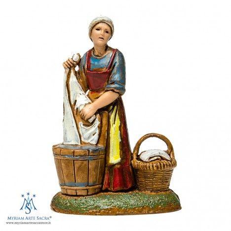 Lavandaia con secchi per il Presepe Landi 6 cm | Statue e Personaggi