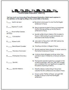 Amazing texas history worksheets Useful