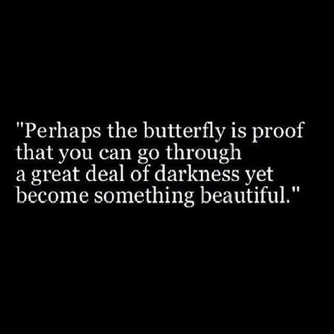 Perhaps the butterfly is proof that you can go through a great deal of darkness yet become something beautiful.