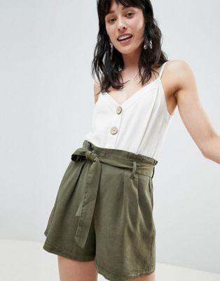 4033ac1e8e3 Stradivarius tie waist tencil shorts | **LADIES WOVEN BOTTOMS ...