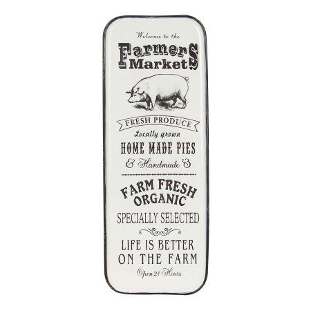 Decmode Farmhouse Pig and Market Typography Iron Wall Sign