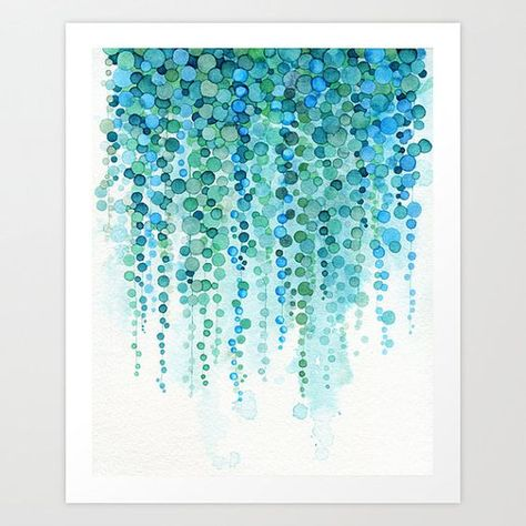 Succulent Plant Watercolor Painting - String of Pearls Plant - Botanical Decor…