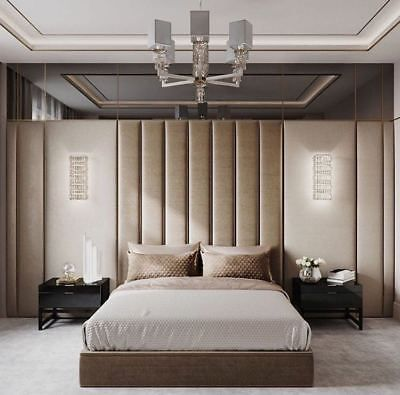 Upholstered Padded Wall Panels Coverings In Fabric British Made Suede Ebay Bed Back Design Classic Bedroom Bedroom Headboard