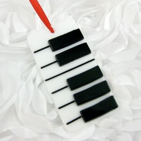 Christmas Ornament - Fused Glass Piano Key Ornament