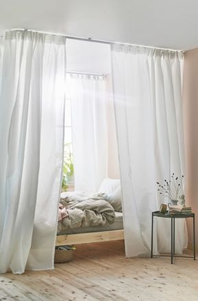 Ikea Vidga White Room Corner Dividers Can Help Create A Sense Of Privacy In Your Bedroom Canopy Bed Diy Curtains Around Bed Canopy Bed Curtains