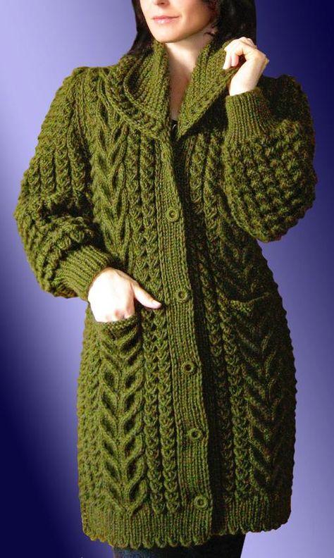 Womens Long Hand Knit Coat 52F