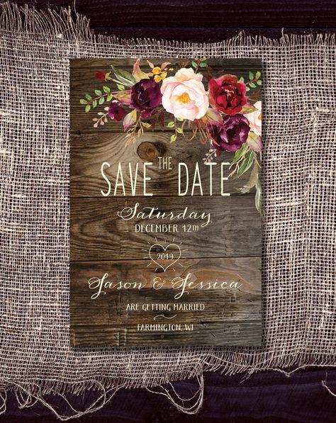 Save the Date Magnet: Rustikales Holz und Burgunder / Pflaume und erröten Blumen
